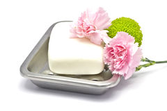 Soap bar with flowers Stock Image