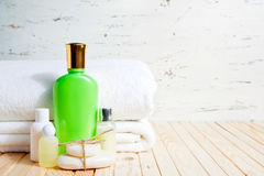 Soap Bar And Liquid. Shampoo, Shower Gel, lotion. Towels. Spa Kit royalty free stock photos