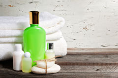 Soap Bar And Liquid. Shampoo, Shower Gel, lotion. Towels. Spa Kit stock images