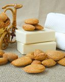 Soap bars with almond oil. royalty free stock photo