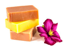 Soap bars and flower isolated on white Stock Images