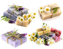 Soap bars with fresh lavender, chamomile and jasmine flowers Royalty Free Stock Image