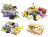 Soap bars with fresh lavender, jasmine and chamomile flowers. Isolated on white background royalty free stock photography