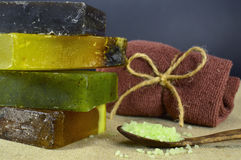 Soap bars with green scented salt Stock Image