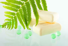The soap bars on the greenish background Stock Photography