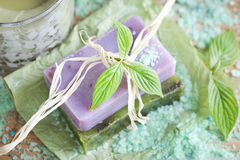 Soap bars with natural ingredients Royalty Free Stock Photo