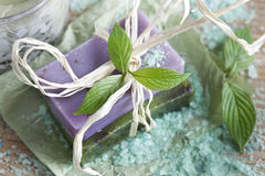 Soap bars with natural ingredients Stock Photo