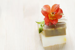 Soap bars with natural ingredients Royalty Free Stock Images