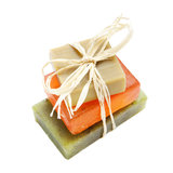Soap bars with natural ingredients isolated Stock Photos