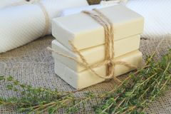 Soap bars with thyme essential oil Stock Images