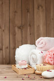 Soap Bars, Towels, Wisps. Body Care Kit. Dried Rose Petals. Royalty Free Stock Image