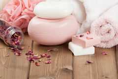 Soap Bars, Towels, Wisps. Body Care Kit. Dried Rose Petals. Stock Images