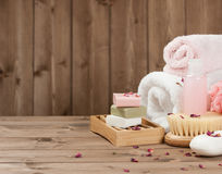 Soap Bars, Towels, Wisps. Body Care Kit. Dried Rose Petals. Royalty Free Stock Images