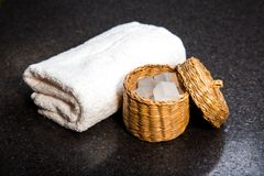 Soap in a basket and towel Stock Image