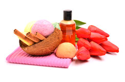 Soap, bath bombs, gel, cinnamon sticks in the coconut shell and Stock Images