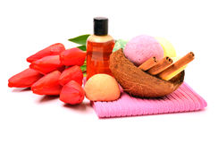 Soap, bath bombs, gel, cinnamon sticks in the coconut shell and Stock Image