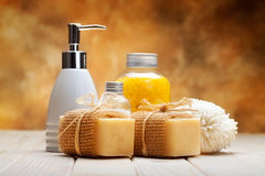 Soap and bath salt Royalty Free Stock Photography