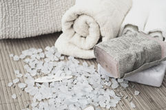 Soap and bath salt Royalty Free Stock Photos