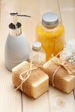 Soap and bath salt - Bath accessories Royalty Free Stock Photo