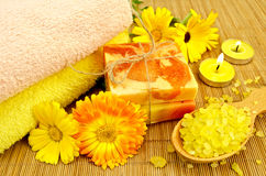 Soap and bath salt with calendula Royalty Free Stock Image