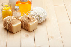 Soap, bath salt and essential oil Royalty Free Stock Image