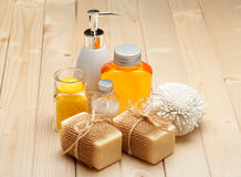 Soap, bath salt and essential spa oil Royalty Free Stock Images