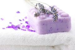 Soap, bath salt and lavander Stock Photos