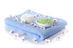Soap and bath salt on a towel Royalty Free Stock Photo