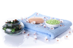 Soap and bath salt on a towel Royalty Free Stock Images