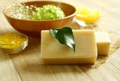 Soap and bath salt on wooden.Spa products. Stock Photography
