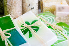 Soap and bath salts. Close up of soap and bath salts Stock Photos