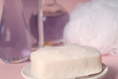 Soap and bottles royalty free stock photo