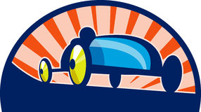 Soap box derby car racing. Illustration of a Soap box derby car racing with sunburst in the background vector illustration