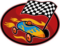 Soap box derby checkered flag. Illustration on the sport of Soap box derby racing with race flag set inside a circle Royalty Free Stock Images