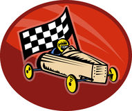 Soap box derby racing race flag. Illustration on the sport of Soap box derby racing with race flag stock illustration