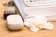 Soap brush and towel Stock Photos