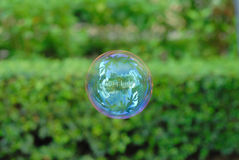 Soap bubble. A soap bubble on the sky, and reflects the buildings view Stock Photography