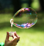 Soap bubble. The girl makes big soap bubble in park Royalty Free Stock Image