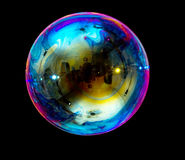 Soap bubble. On a black background Stock Photos