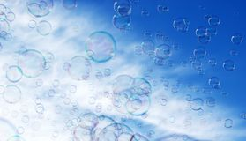 Soap bubble in the air with blue sky. The Abstract background from soap bubble in the air with blue sky royalty free illustration
