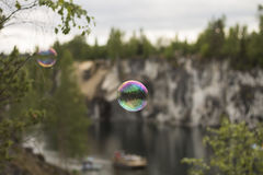 Soap Bubble in the Air Royalty Free Stock Photo
