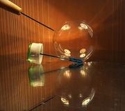 Soap bubble with awl moment before crash Royalty Free Stock Photography