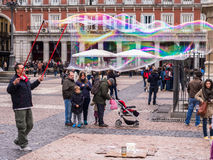 Soap Bubble Street Entertainer. Soap bubble artist and street entertainer working in the Plaza Mayor, Madrid, Spain Royalty Free Stock Photos