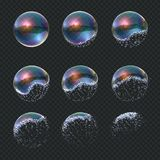 Soap bubble explode. Realistic water sphere explosion, transparent blue reflections isolated soap foam balloon. Vector stock illustration