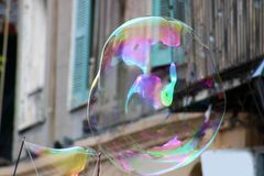 Soap bubble floating in New Orleans French Quarter stock image