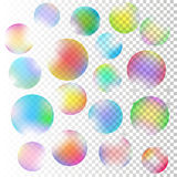 Soap bubble or glass spheres. Set of  realistic illustration colorful transparent soap bubble or glass spheres. Vector illustration on checkered transparent Royalty Free Stock Photos