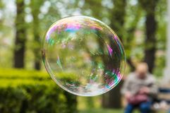 Soap bubble on green background Royalty Free Stock Photos