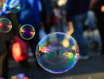 Soap bubble  on light ble background Stock Images