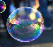 Soap bubble  on light ble background Stock Photography