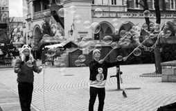 Soap bubble makers in Cracow Royalty Free Stock Photos